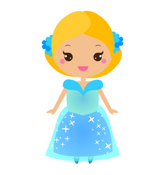 cute kawaii fairy tale princess in blue dress vector image vector image