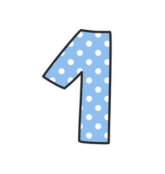 hand drawn number 1 with polka dots vector image vector image