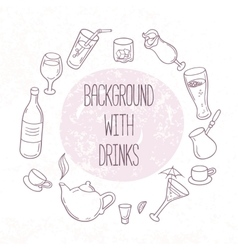 Set of outline drinks in Backgrond with vector image vector image
