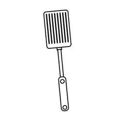 silhouette black with frying spatula vector image vector image