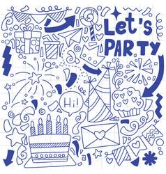 01-09-009 hand drawn party doodle happy birthday vector