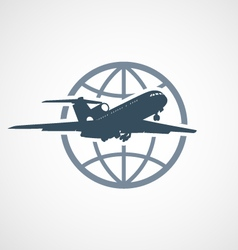 Air travel - airplane flying around the globe vector