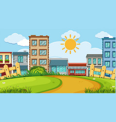 an outdoor scene with shop building vector image