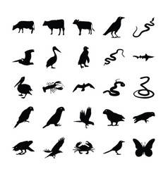 Animals solid icons bundle vector