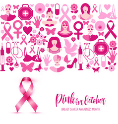 Banner breast cancer for october vector