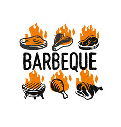 barbecue fest logo set with fire on white vector image