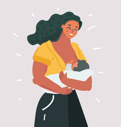 beautiful mother breastfeeding her bachild vector image