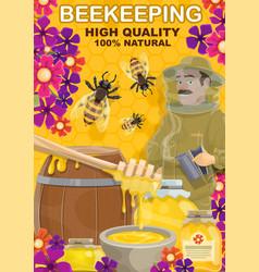 beekeeping honey and apiarist man vector image