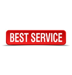 Best service red three-dimensional square button vector