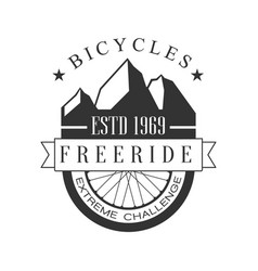 bicycles freeride extreme challenge vintage label vector image