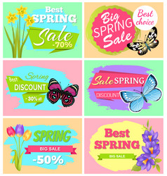 Big spring sale set of banners vector