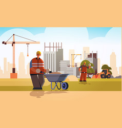 builder pushing wheelbarrow with sand busy workman vector image
