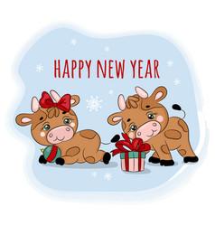 bulls 2021 christmas gifts cartoon vector image