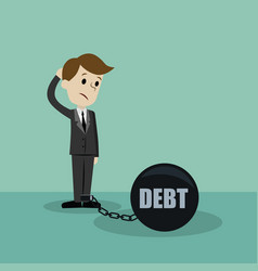 businessman or manager has a debt as a chain on vector image