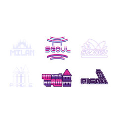capital cities labels and logos set vector image