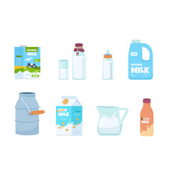 Cartoon milk plastic bottle white food container vector