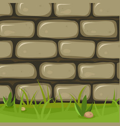 cartoon rural stone wall vector image