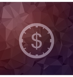 Clock and dollar sign in flat style icon vector image