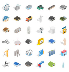 Construction icons set isometric style vector