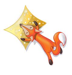 Cute cartoon sleeping fox with pillow isolated on vector
