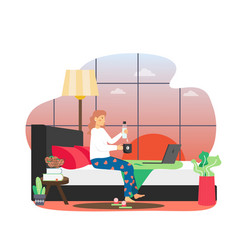 Daily life morning routine woman sitting on bed vector