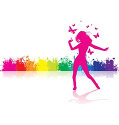 dancing girl rainbow vector image