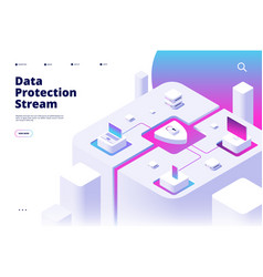 data protection landing phone security password vector image