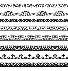 Decorative seamless borders vintage design set vector