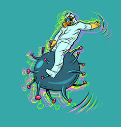 Doctor fights coronavirus like a wild vector