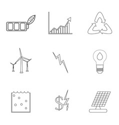 Energy and electricity linear icons vector