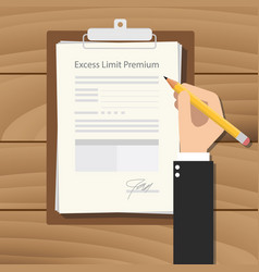 Excess limit premium with businessman hand vector