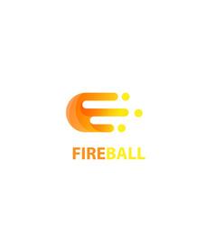 fire ball logo letter e design vector image