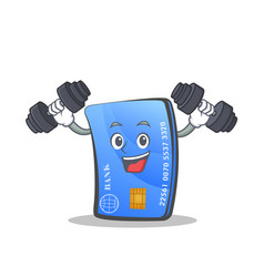 Fitness credit card character cartoon vector