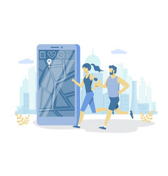 Fitness tracking app flat style design vector