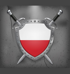 Flag of poland the shield with national flag two vector