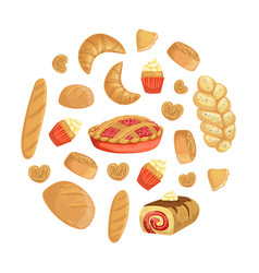 fresh baked goods round shape element can be vector image
