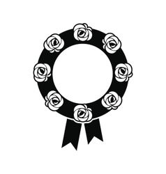 Funeral wreath black icon vector