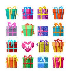 gifts or presents boxes icons set vector image