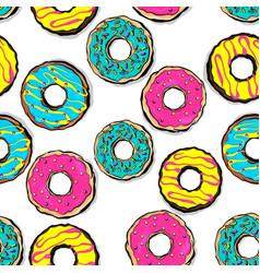glazed doughnut seamless pattern pop art vector image