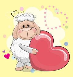 Greeting card cute sheep with heart vector