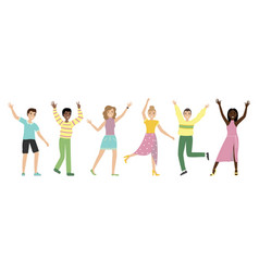 group happy people with waving hands vector image