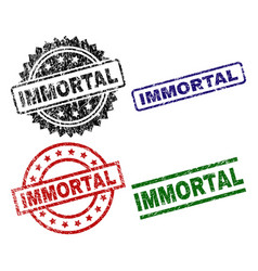 Grunge textured immortal seal stamps vector