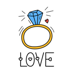 hand draw love diamond ring icon in doodle style vector image