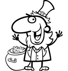 happy Leprechaun cartoon for coloring book vector image