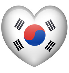 Heart shape with korean flag vector