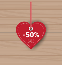heart shaped sale tag holiday shopping for vector image