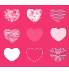 Hearts simple shaded and broken in 9 different vector image