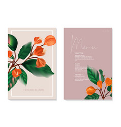 Holiday invite card with orange flower branch vector