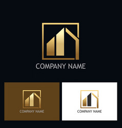 home building gold company logo vector image