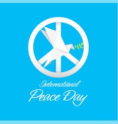 International peace day peace symbol origami dove vector